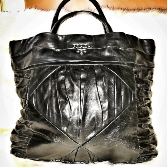 f5477032d33b Prada Bags | Royal Calf Pleated Tote Nero Black Tote | Poshmark